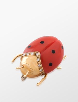 Molu Pırlantalı Uğur Böceği Broş  KL-3649