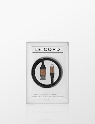 Le Cord Black Leather Dark Wood iPhone Şarj Kablosu 1106