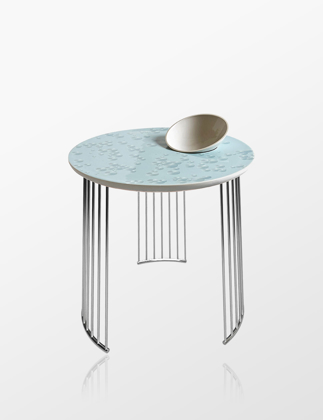 Lladró Crystal Moment Table With Bowl Chrome Metal 01040220