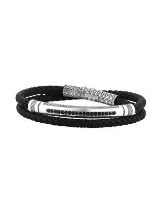 Atolyestone Signature Leather Wrap Bracelet 11221-O-BK