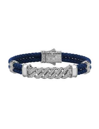 Atolyestone Cuban Links Leather Bracelet 11225-SI-BL