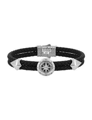 Atolyestone Compass Leather Bracelet 11226-SI-BK
