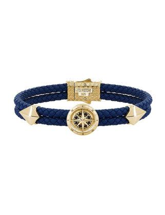 Atolyestone Compass Leather Bracelet 11226-YG-BL