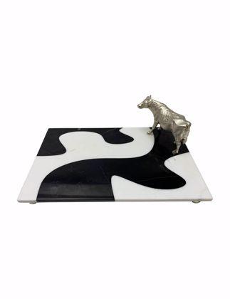 Mi'Marb Design Jungle Collection Mermer İnek Figürlü Servis Tabağı MIM-CO-01