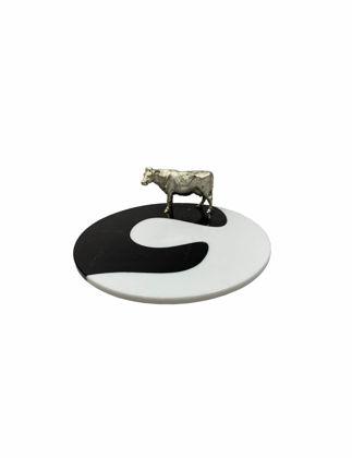 Mi'Marb Design Jungle Collection Mermer İnek Figürlü Servis Tabağı MIM-CO-02