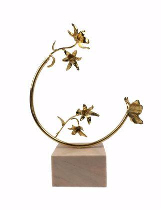 Mi'Marb Design Tropical Collection Mermer Çiçekli Yarım Ay Halka Dekoratif Obje MIM-LIL-01