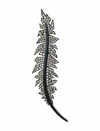 Molu Çeşm-i Siyah Mine Kahverengi Pırlanta Dal Broş KL-6818-019