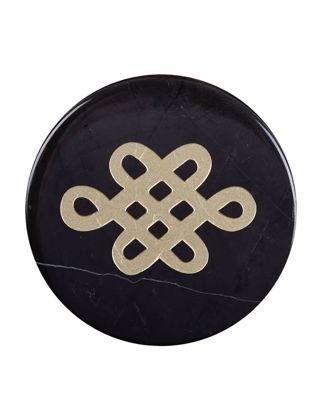 Kısmetce Mistik Düğüm Mermer Siyah Bardak Altlığı Gold KSM-480005150110