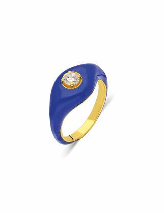 Si Jewels Lacivert Mineli Serçe Parmak Yüzük Sİ-0143