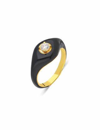Si Jewels Siyah Mineli Serçe Parmak Yüzük Sİ-0145