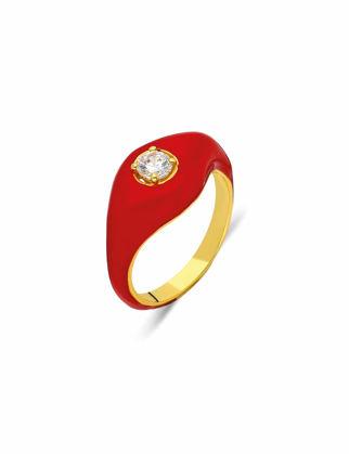 Si Jewels Kırmızı Mineli Serçe Parmak Yüzük Sİ-0146