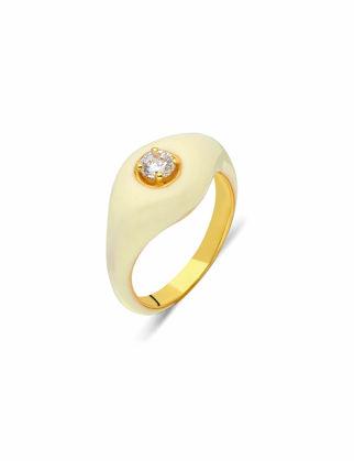Si Jewels Beyaz Mineli Serçe Parmak Yüzük Sİ-0147