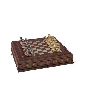 Helena Wood Art Klasik Satranç Seti - Metal Figürlü 2629.ROS.5014.GD