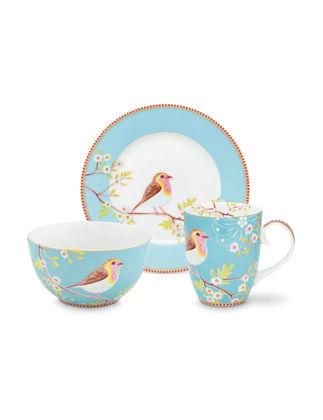 Pip Studio Kuşlu 3'lü Mavi Kahvaltı Seti 51020108