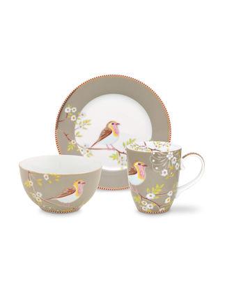 Pip Studio Kuşlu 3'lü Haki Kahvaltı Seti 51020107