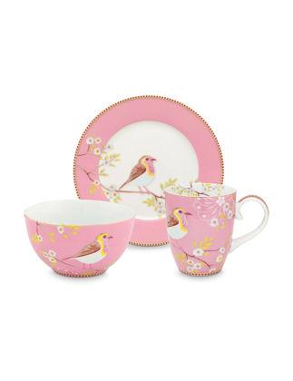 Pip Studio Kuşlu 3'lü Pembe Kahvaltı Seti 51020106