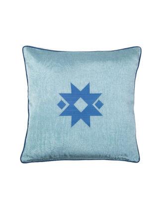 Bohemtolia Yıldız Motifi Nakışlı Kutnu Yastık Açık Mavi BT-YIL-Açık Mavi