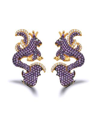Canan Yolaç Stamboul Jr. Secret Of The Universe Purple Crystal İkonik Küpe CYJOU2019