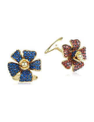 Canan Yolaç Stamboul Inner Flower Garnet& Sapphire Taşlı Kol Düğmesi CYIF2019