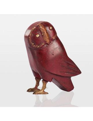 Estetik Decor Antik Biblo Baykus Ahşap-Kırmızı PRIA119A