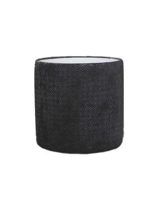 Estetik Decor Deri Sehpa Silindir Siyah/Rugan Halkalar Füme Aynalı MSH-000112