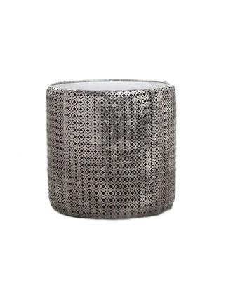 Estetik Decor Deri Sehpa Silindir Bej/Platin Halkalar Füme Aynalı MSH-000235