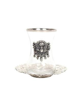 Nilhan Sultan Osmanlı Devlet Armalı Çay Takımı 6'lı Gümüş 8682325321996