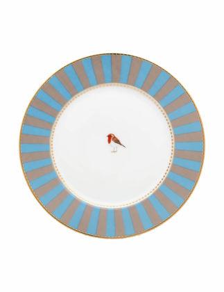 Pip Studio Love Bird Mavi/Haki Çizgili Tabak 17 cm 51001239