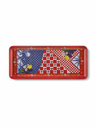 Chiara Alessi Capri Kırmızı Mavi Servis Tabağı 35,5x15 cm CA378LR