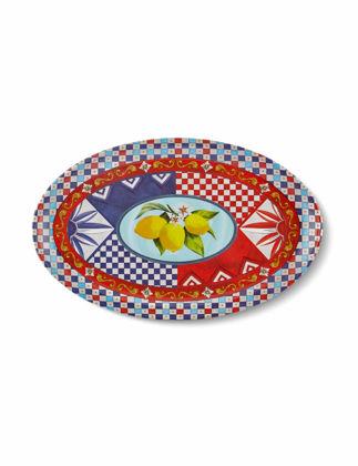 Chiara Alessi Capri Kırmızı Mavi Oval Servis Tabağı 34x21,5 cm CA604LR