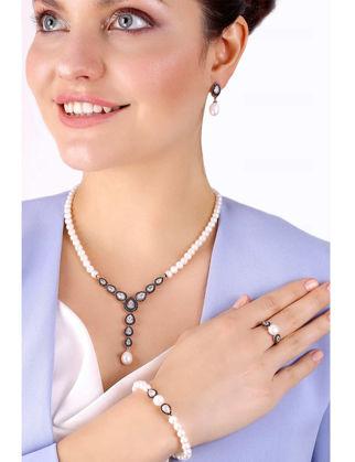 Lulu Jewelery Bayan Damla Elmas Model İncili Gümüş Set LL0124