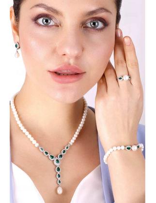 Lulu Jewelery Bayan Damla Zümrüt İncili Gümüş Set LL0125
