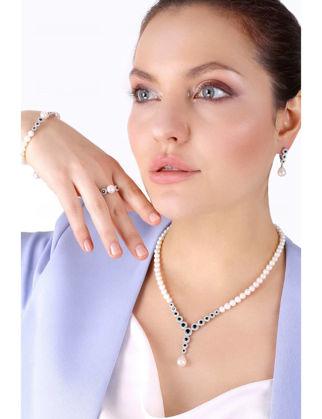 Lulu Jewelery Beyaz Gümüş Onix İncili Set LL0138