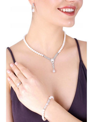 Lulu Jewelery Oval İncili Gümüş Set LL0140