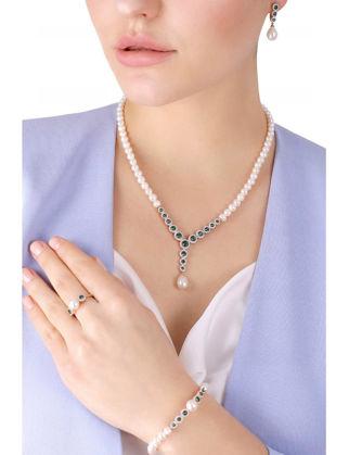 Lulu Jewelery Zümrüt Taşlı İncili Gümüş Set LL0141