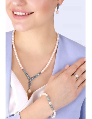 Lulu Jewelery Yuvarlak Turkuaz Taş İncili Gümüş Set LL0142