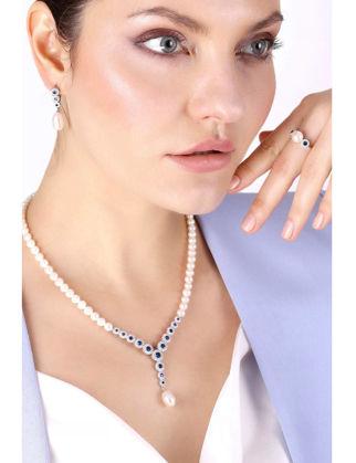 Lulu Jewelery Mavi Taşlı Elmas Model İncili Gümüş Set LL0143
