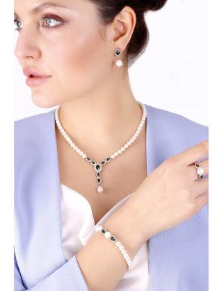 Lulu Jewelery Mini Zümrüt Taşlı İnci Gümüş Set LL0144