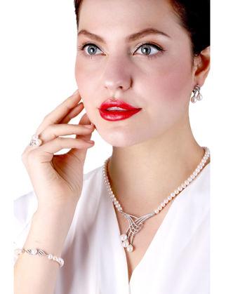 Lulu Jewelery Üç İncili Gümüş Set LL0147