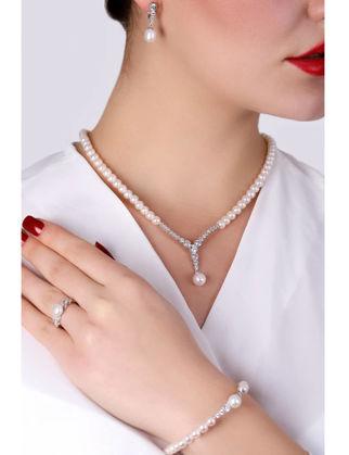Lulu Jewelery İncili Su Yolu Gümüş Set LL0148