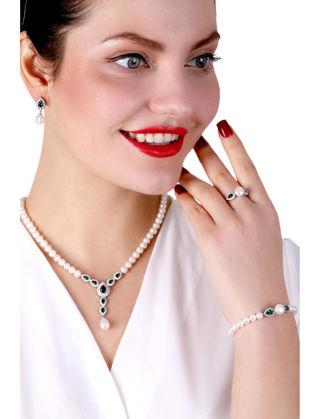 Lulu Jewelery Yesil Damla Taşlı İncili Gümüş Set LL0150