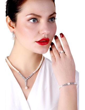 Lulu Jewelery İncili Gümüş Set Siyah Kalem Elmas Montür LL0153