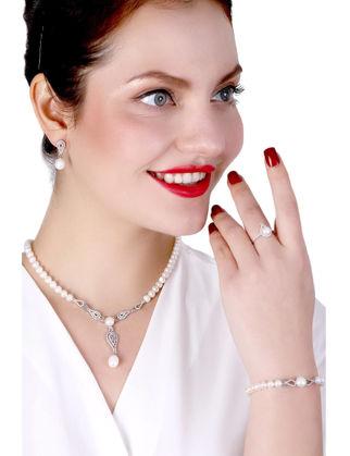 Lulu Jewelery Lale Montür İncili Gümüş Set LL0156