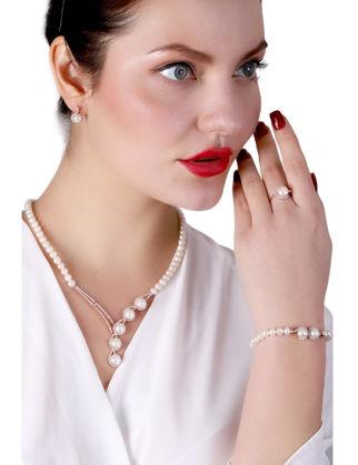 Lulu Jewelery Beş İncili Gümüş Set LL0157