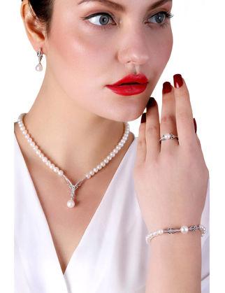 Lulu Jewelery Zarif İncili Gümüş Set LL0158