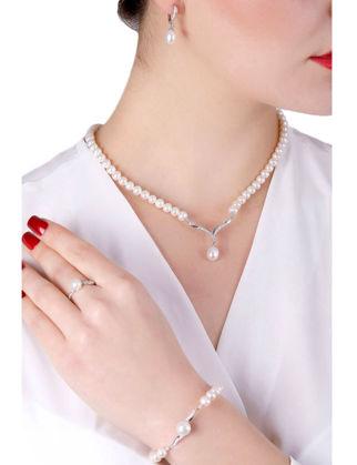 Lulu Jewelery Zarif İncili Gümüş Set LL0161