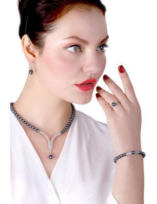Lulu Jewelery Siyah İncili Gümüş Set LL0162