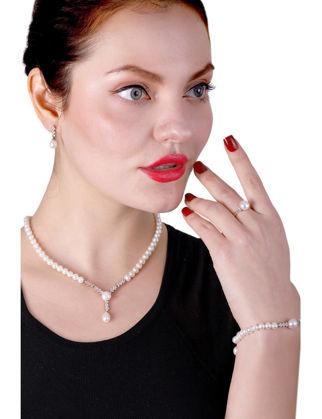 Lulu Jewelery Rose Kaplama Su Yolu İncili Gümüş Set LL0163