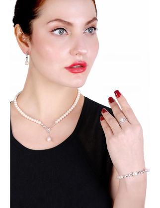 Lulu Jewelery Gümüş Set İnci Kolye LL0166