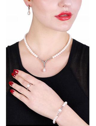 Lulu Jewelery Elmas Montür İnci Set Gümüş LL0167